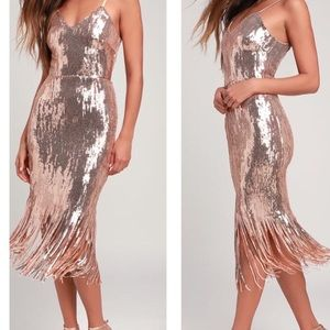 Anjou Rose Gold Sequin Fringe Midi Dress